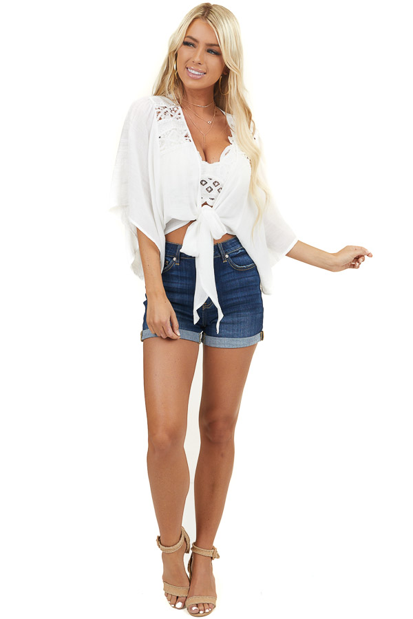 Off White Lace Front Tie Top with Half Length Kimono Sleeves