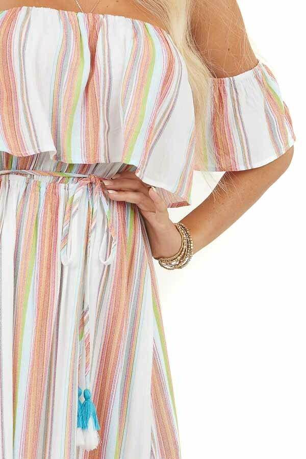 Multicolor Stripe Print Off Shoulder Maxi Dress with Overlay