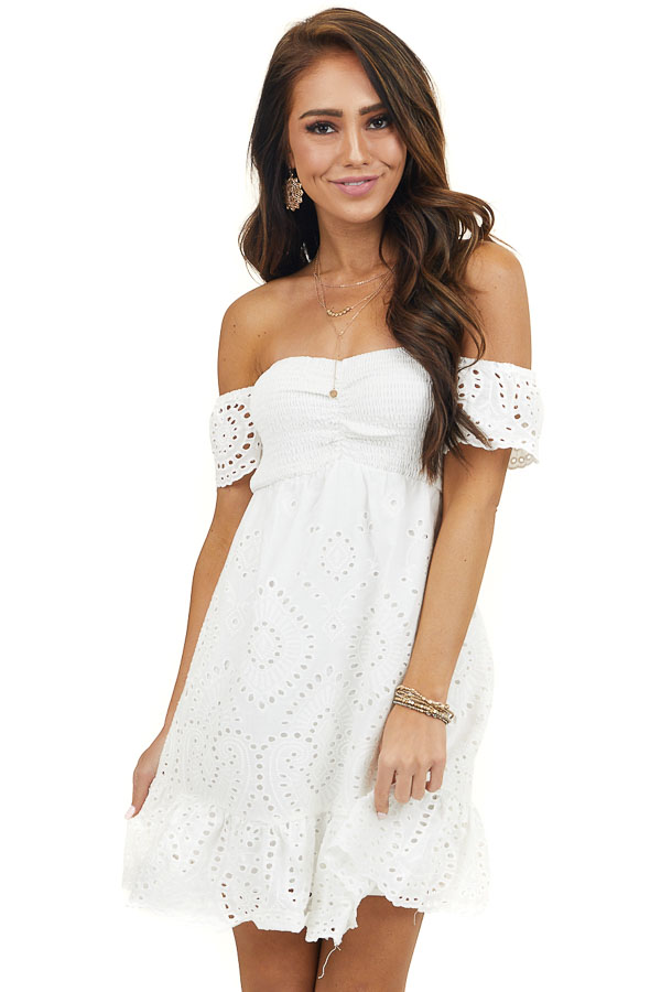 Off White Off Shoulder Smocked Mini Dress with Eyelet Lace