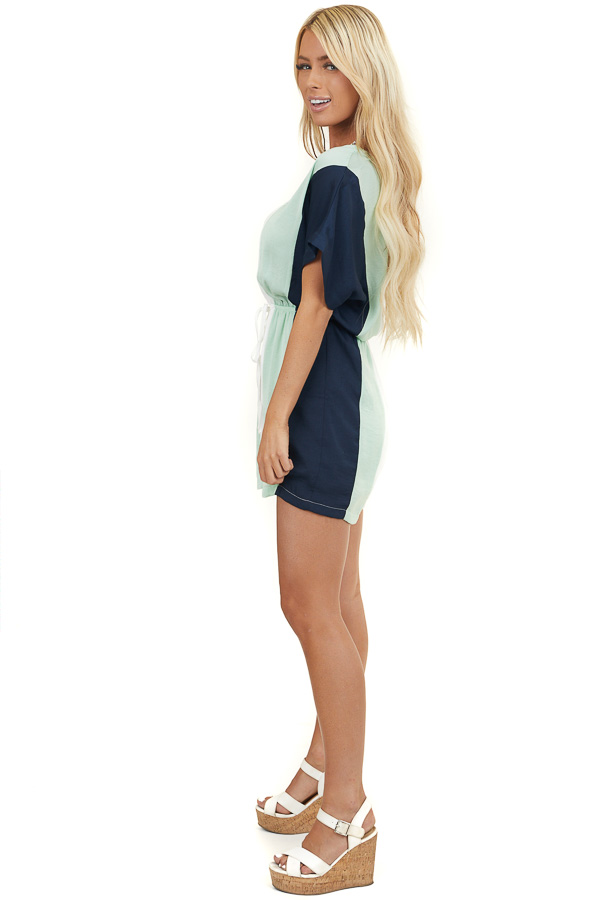 Mint Vertical Colorblock Woven Romper with Elastic Waist
