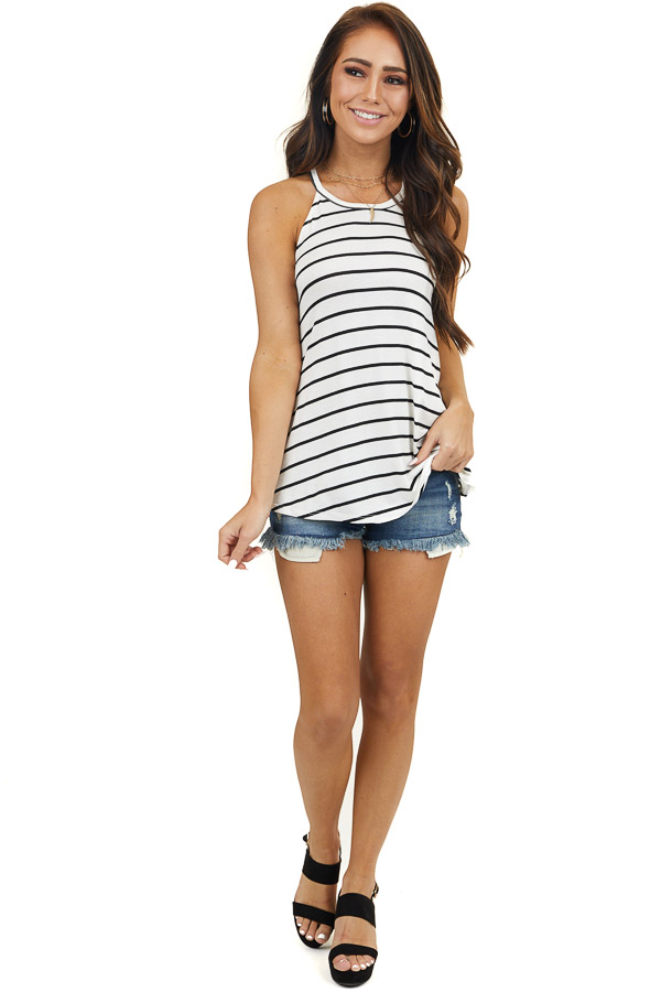 Ivory and Black Striped High Neck Super Soft Knit Tank Top