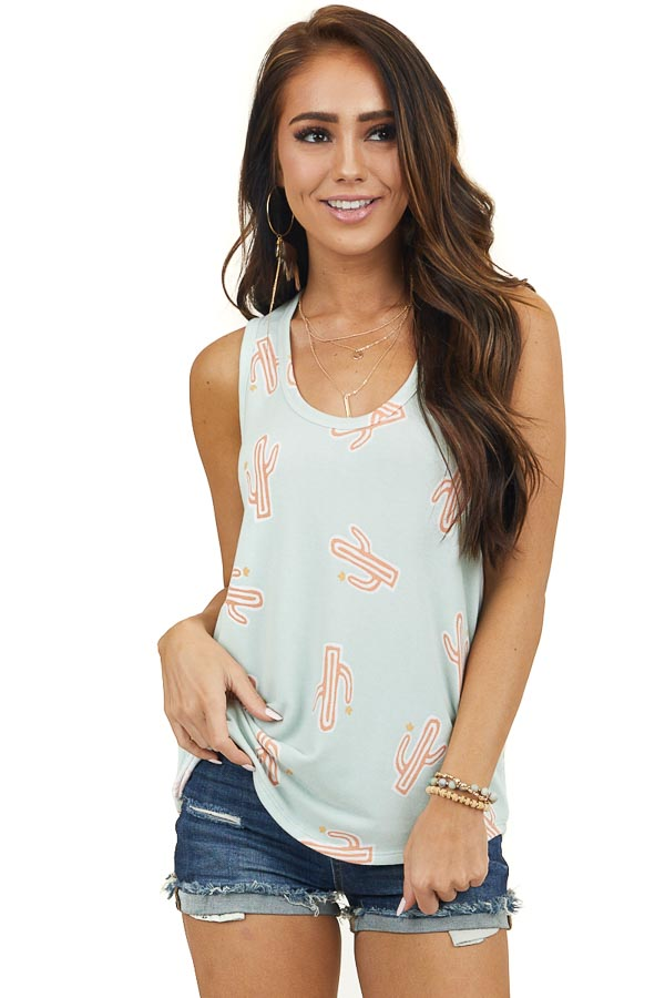Sage Cactus Print Sleeveless Knit Top with Rounded Hemline