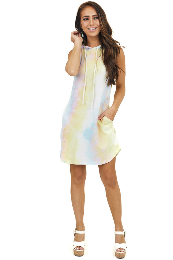 Multicolored Tie Dye Sleeveless Hooded Dress with Drawstring