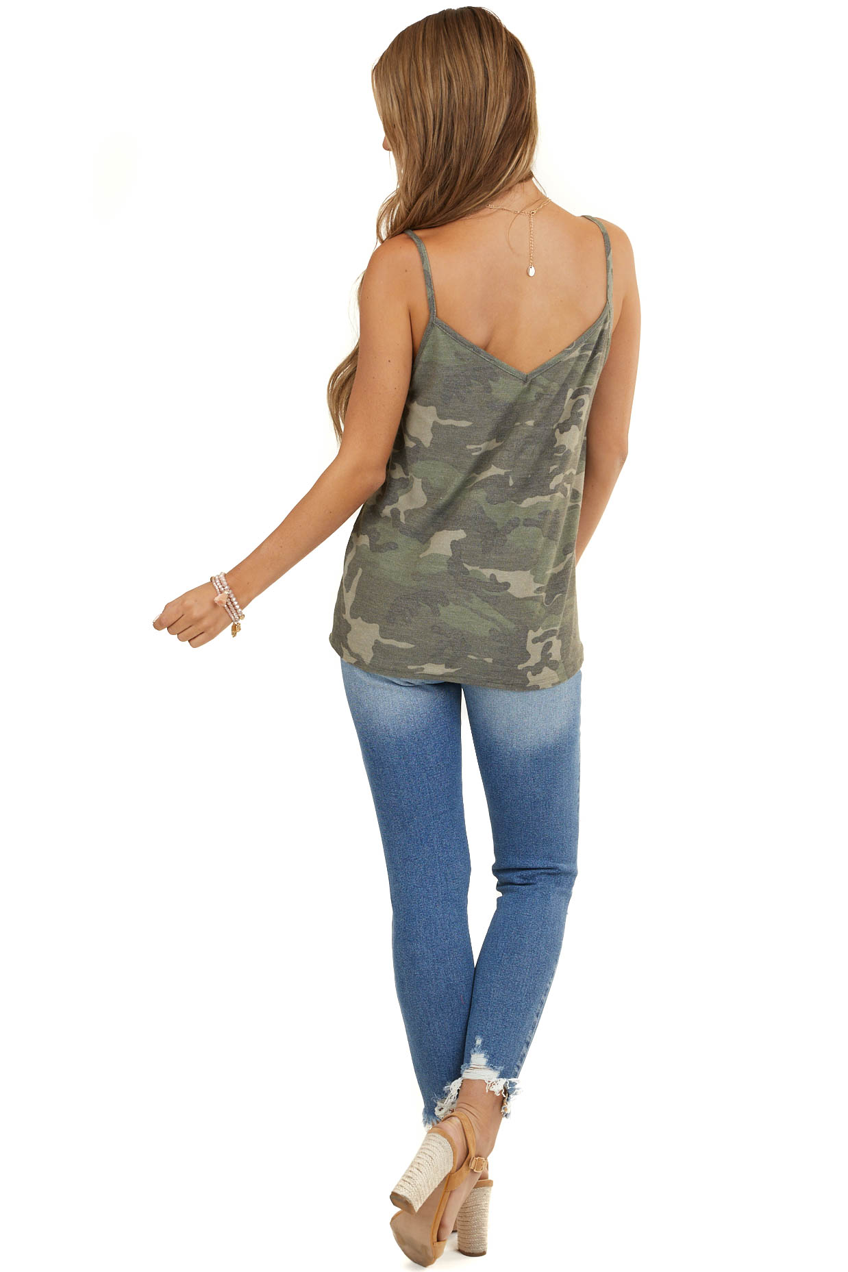 Olive Camouflage Terry Knit Tank Top with V Neckline