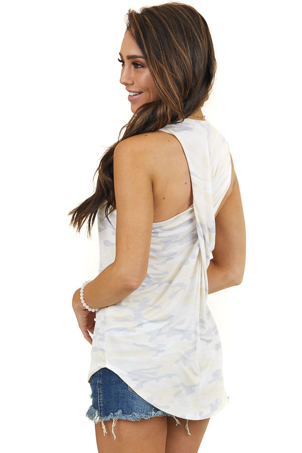Pale Yellow Camouflage Tank Top with Twisted Back Detail