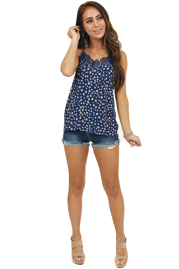 Navy Cheetah Print Woven Tank Top with Lace Detail