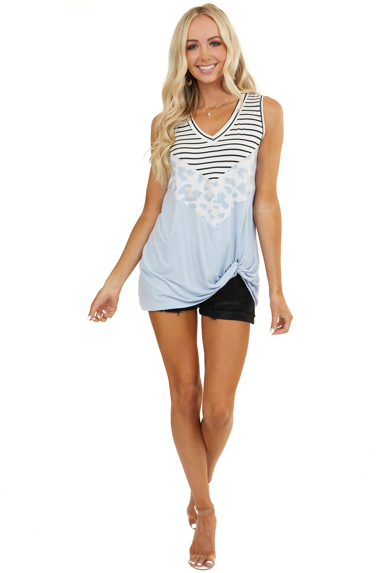 Baby Blue Multiprint Chevron Block Tank Top with Front Twist