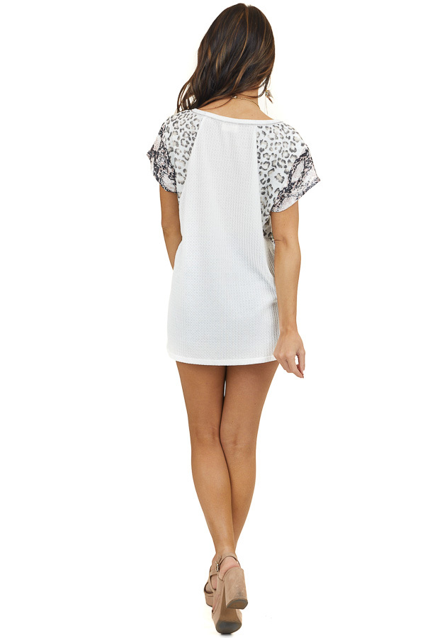 Off White Knit Top with Multiprint Sleeves and Embroidery