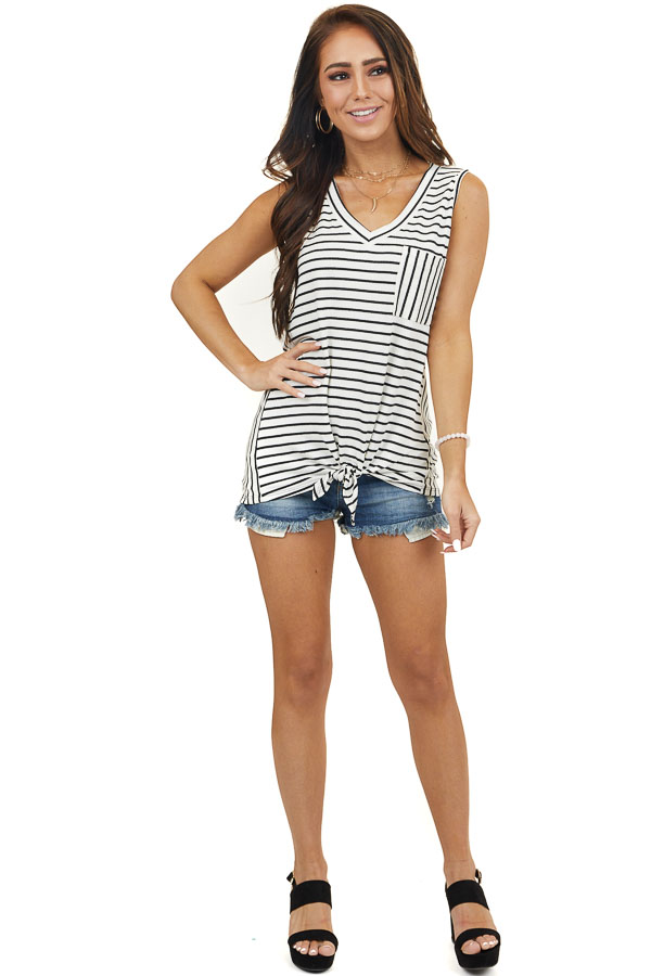 Ivory and Black Striped Tank Top with Tie and Chest Pocket