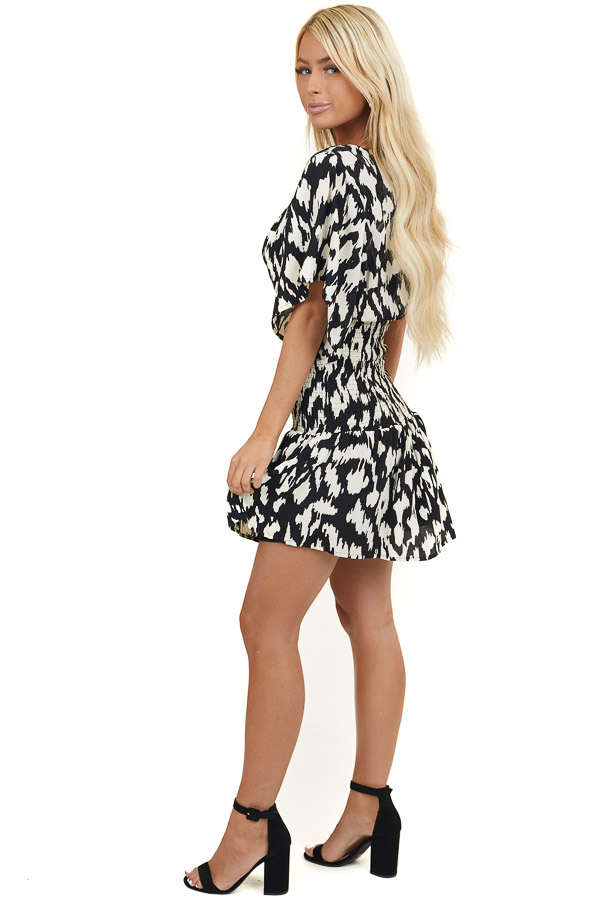 Black and Ivory Abstract Print Dress with Smocked Waist