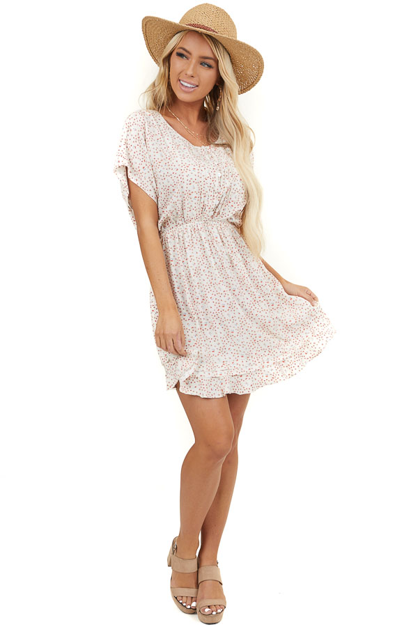 Ivory Floral Ditsy Print Dress with Button Up Front
