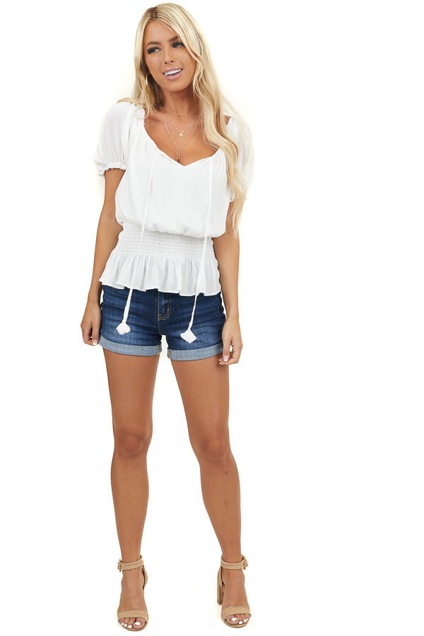 White Off Shoulder Peplum Peasant Top with Puff Sleeves