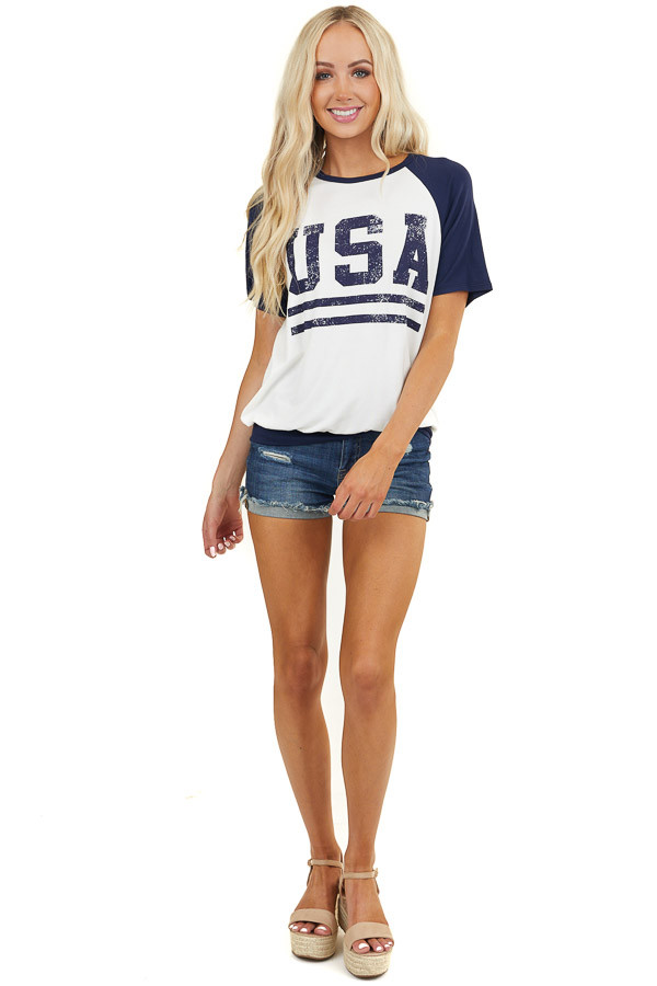 Ivory Distressed 'USA' Graphic Baseball Short Sleeve Top