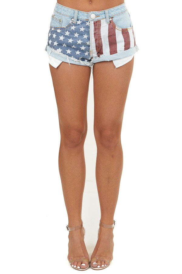 Light Wash Denim Distressed Shorts with American Flag Detail