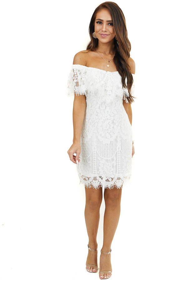 Off White Lace Off Shoulder Mini Dress with Bust Overlay