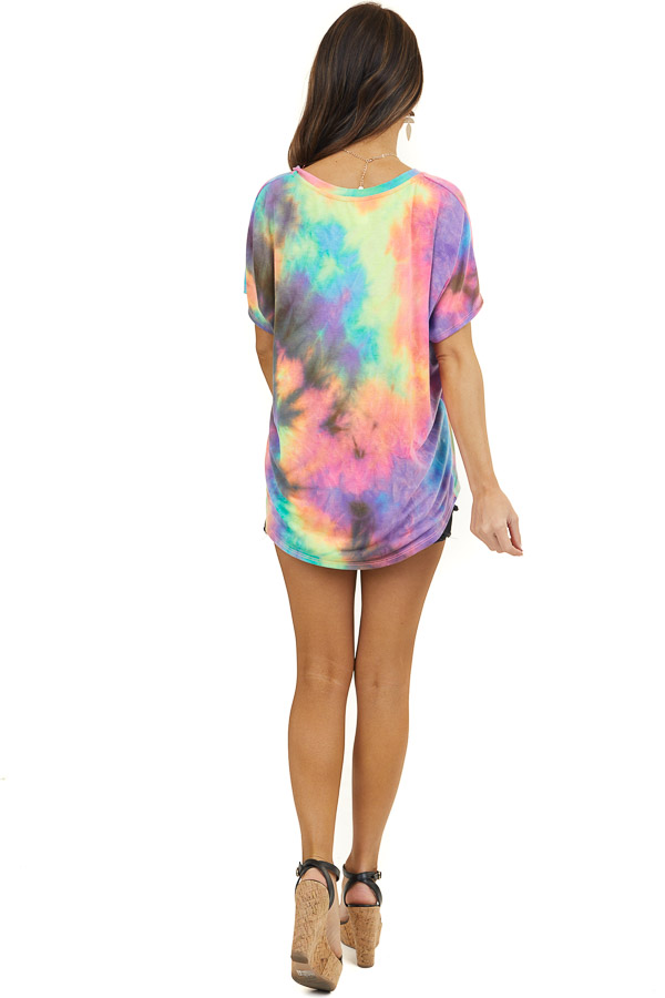 Multicolor Tie Dye V Neck Knit Top with Short Sleeves