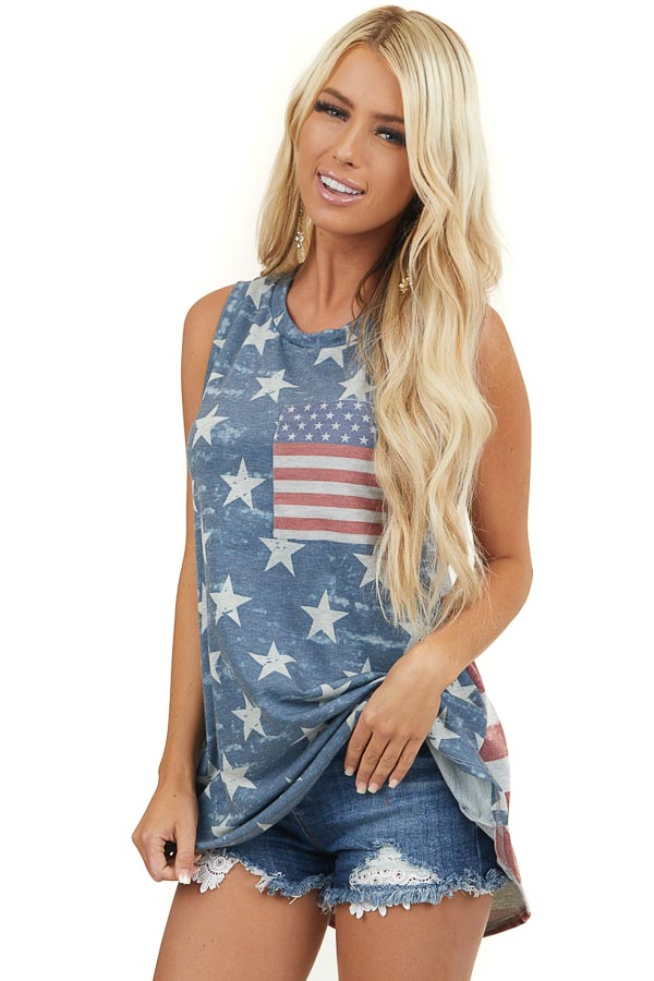 Faded Navy American Flag Tank Top with Front Pocket