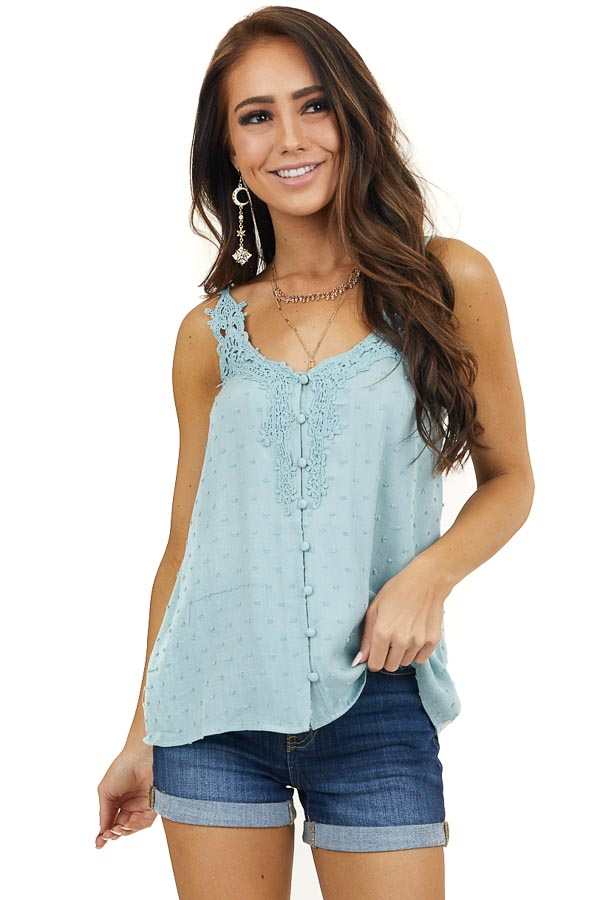 Sage Swiss Dot V Neck Tank Top with Crocheted Details