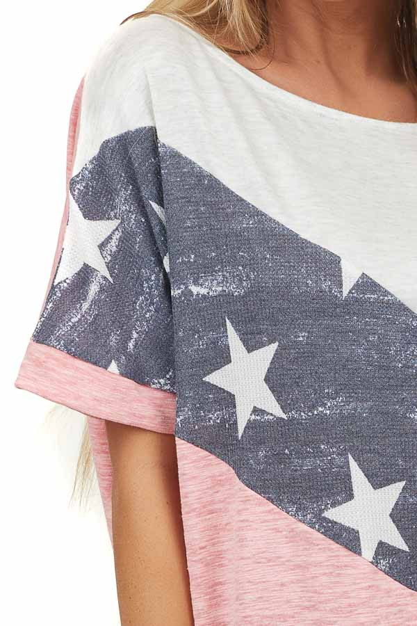 Coral American Flag Contrast Top with Short Sleeves