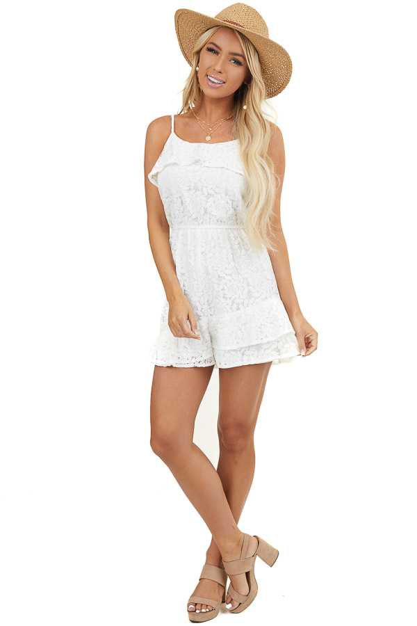White Floral Lace Sleeveless Romper with Overlay Details