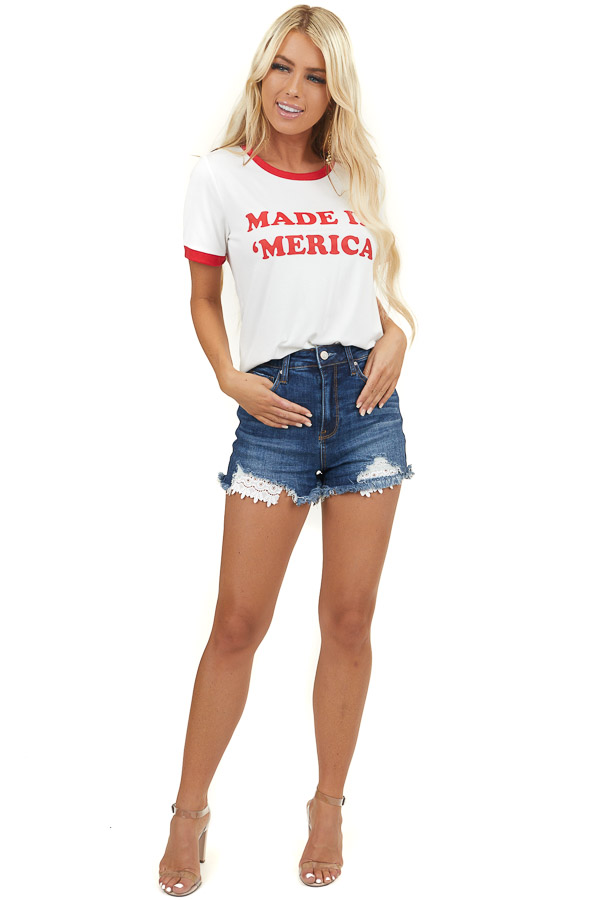 White 'Made in 'Merica' Graphic Ringer Tee with Red Contrast