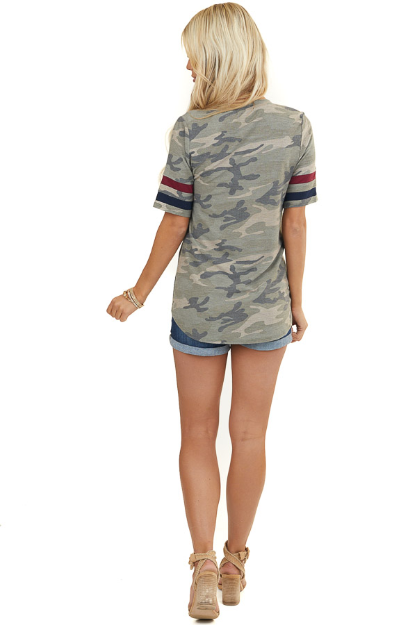 Sage Camo Print Knit Top with Patriotic Varsity Sleeves