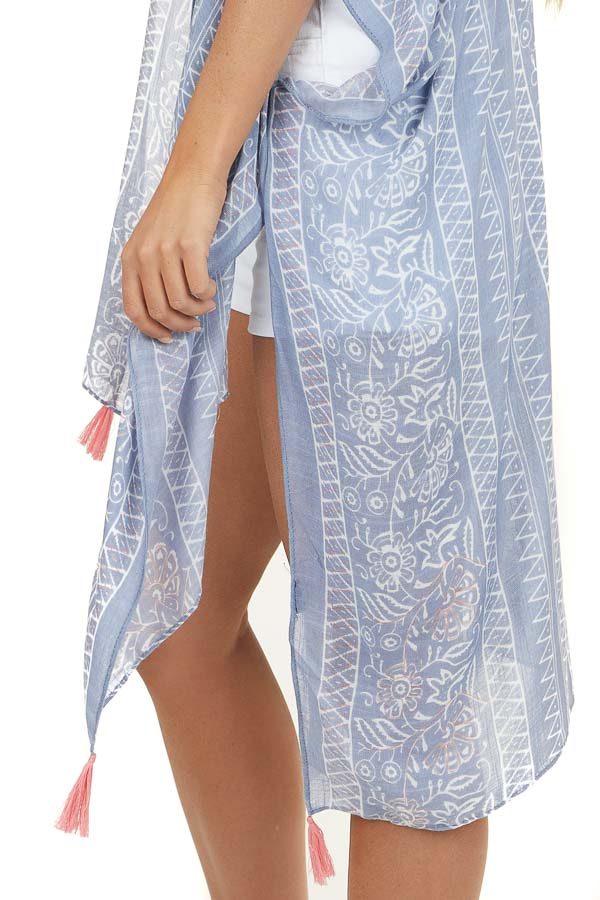 Dusty Periwinkle Printed Kimono with Coral Tassel Details