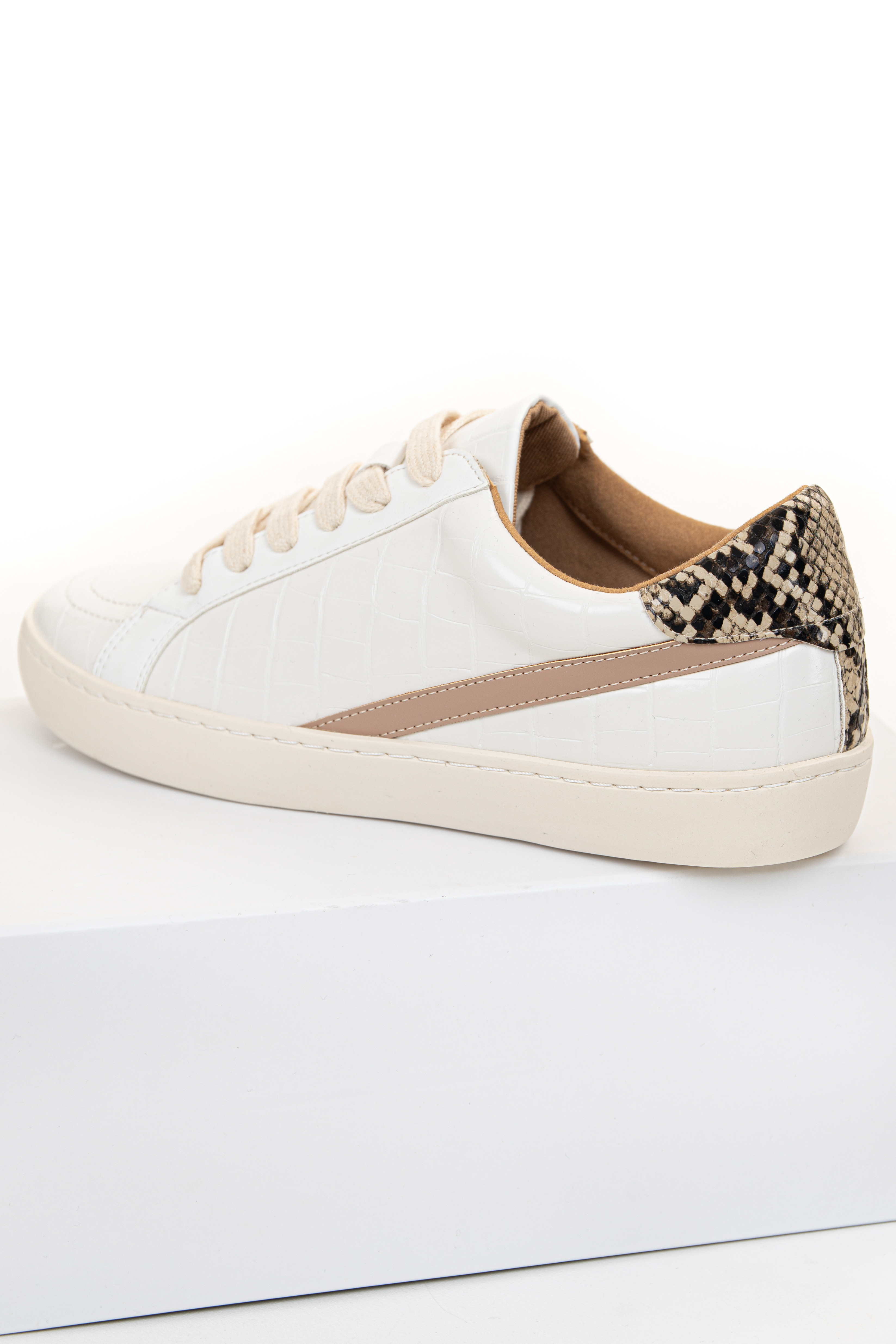 Ivory Faux Leather Sneakers with Snakeskin Print Contrast