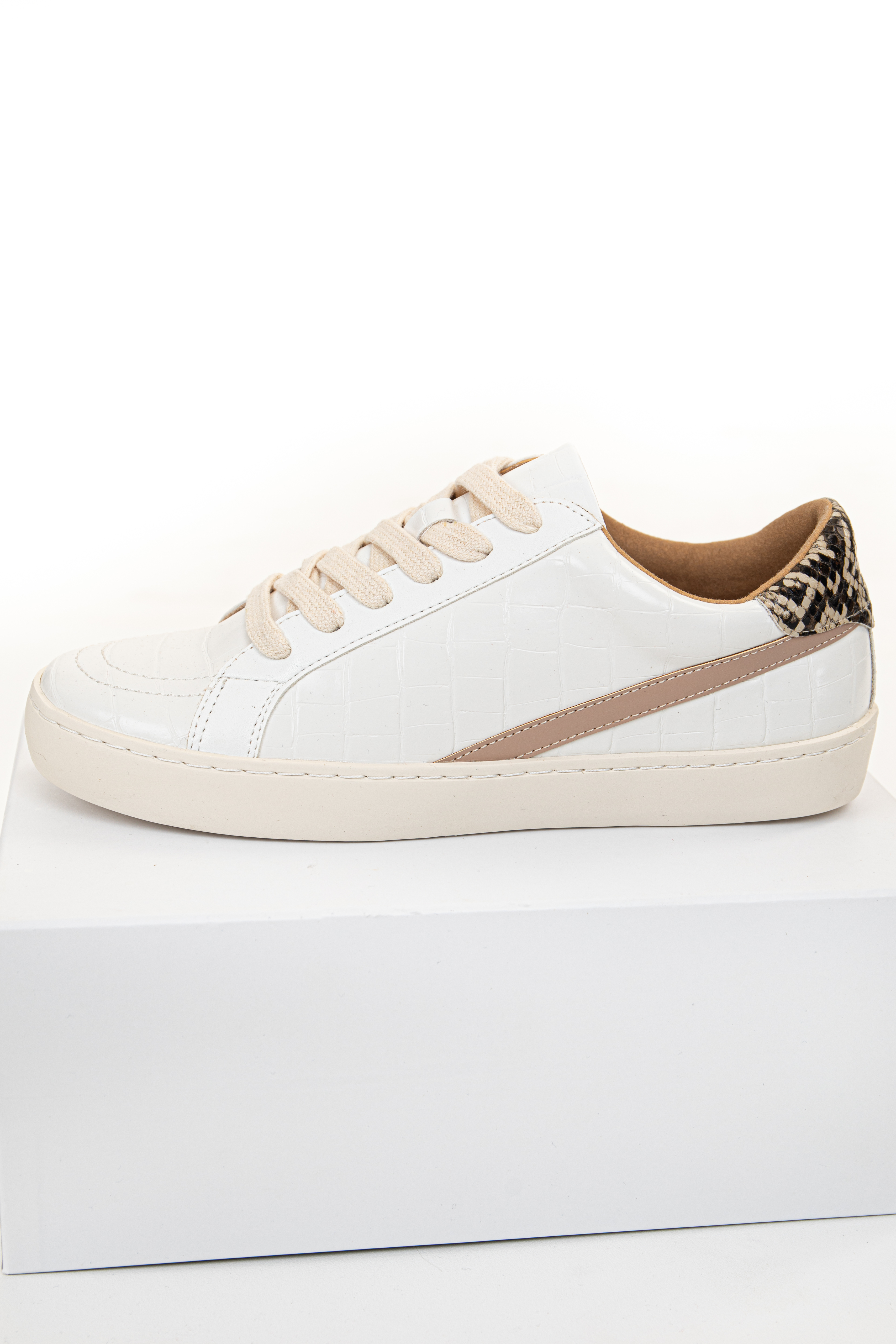 Ivory Faux Leather Sneakers with