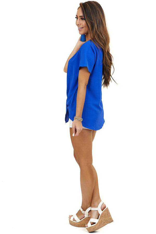 Royal Blue Short Sleeve Button Up Top with Front Tie Detail