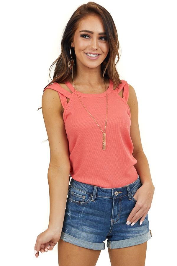 Coral Waffle Knit Tank Top with Criss Cross Straps