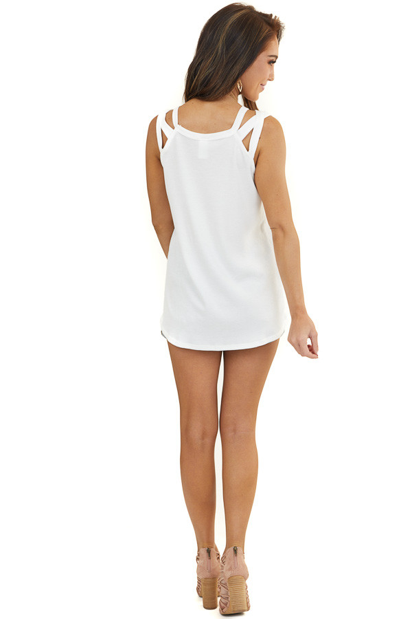 Off White Waffle Knit Tank Top with Criss Cross Straps