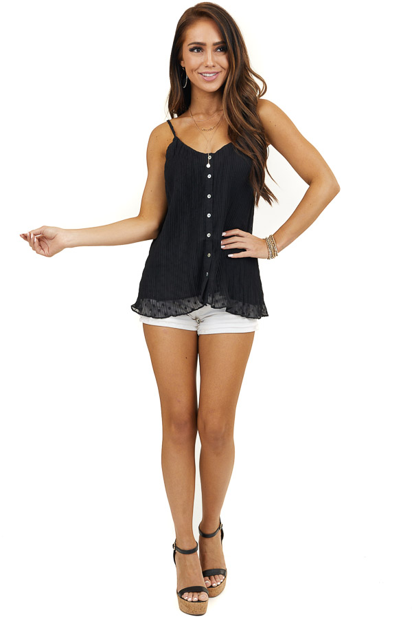 Black Sleeveless Swiss Dot Top with Pearlescent Buttons