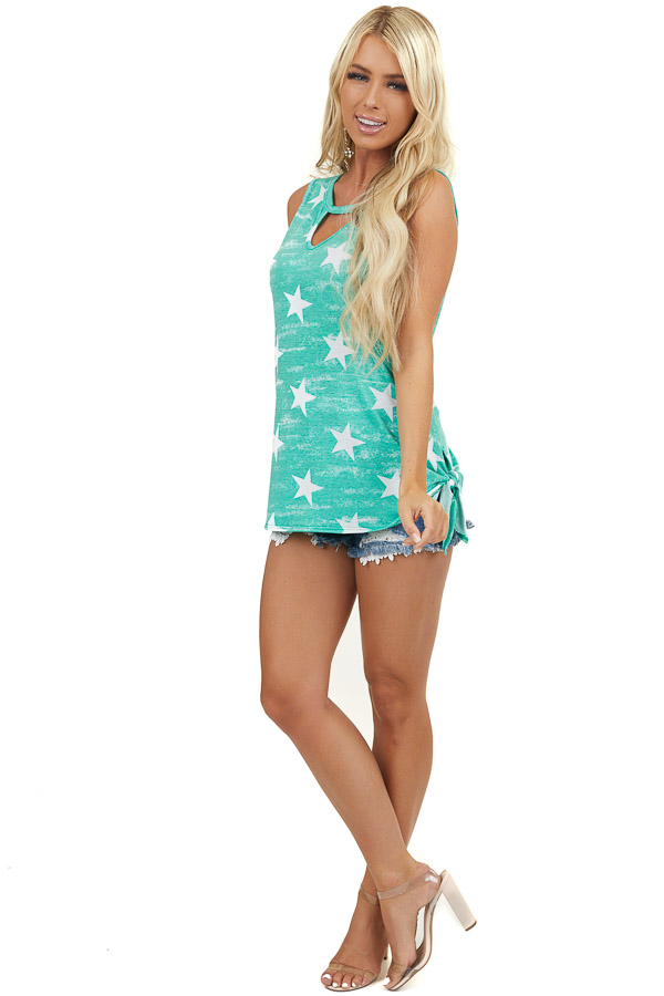 Kelly Green and White Star Print Tank Top with Cutout Detail