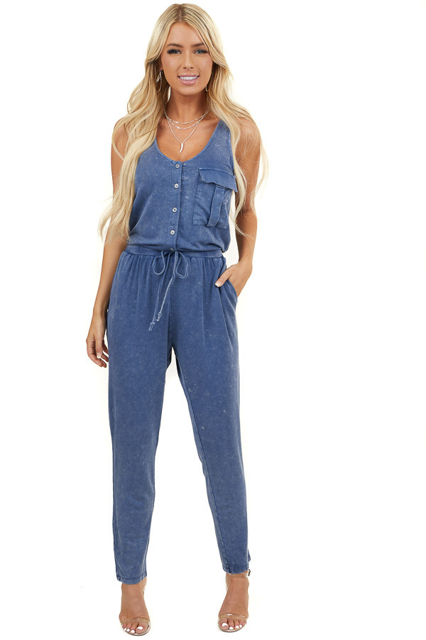 Denim Blue Mineral Wash Sleeveless Jumpsuit with Pockets