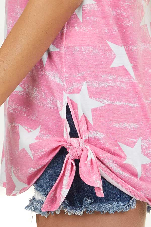 Bubblegum Pink and White Star Print Tank Top with Cutout
