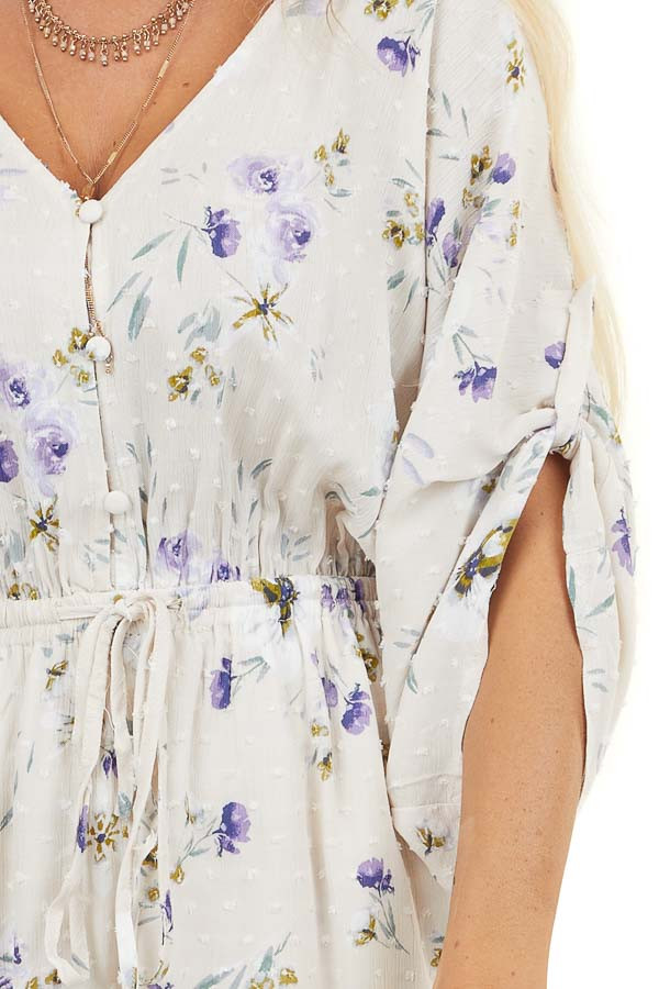 Cream Floral Print Swiss Dot Short Romper with Side Pockets
