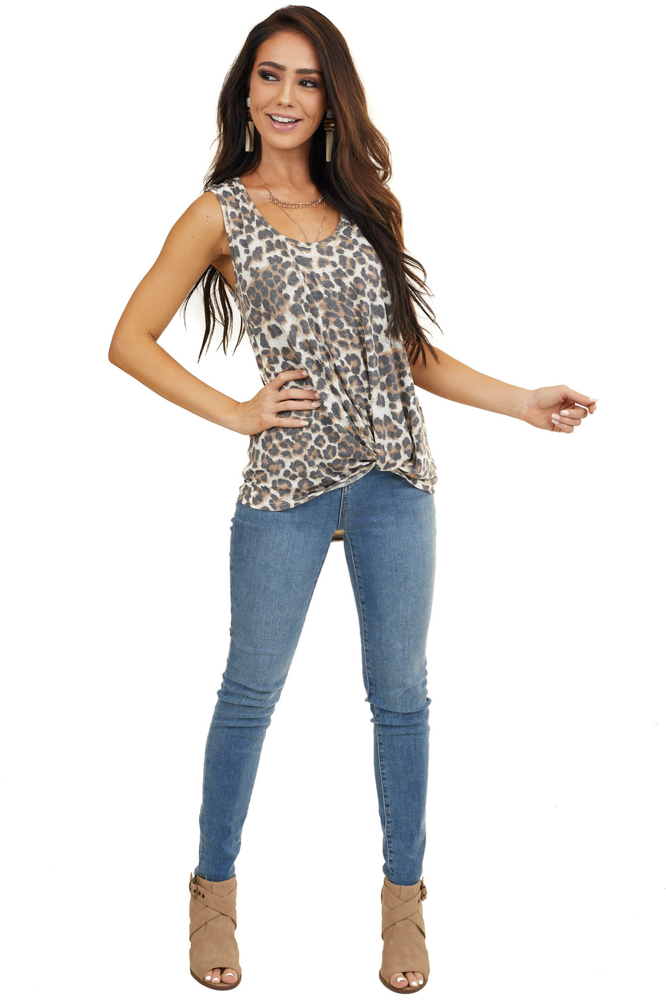 Cream and Cognac Leopard Print Tank Top with Striped Back