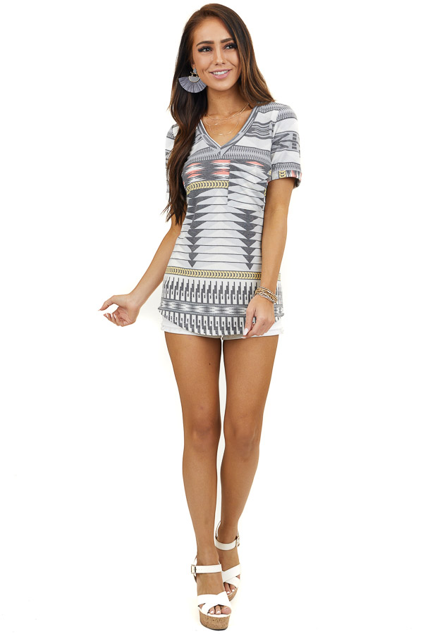 Multicolor Patterned Short Sleeve Top with Front Pocket