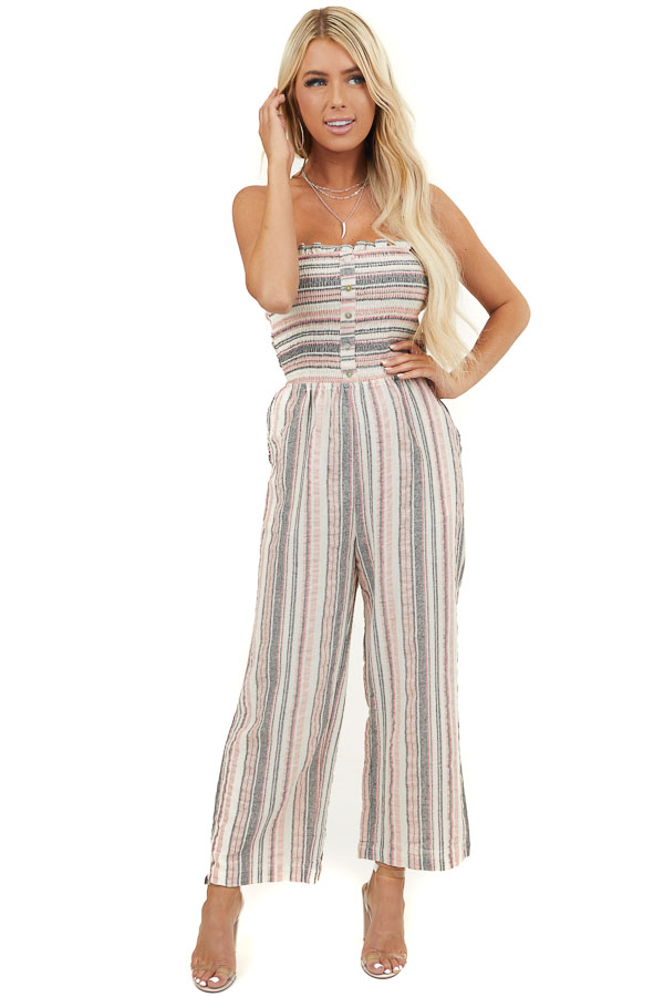 Dusty Blush Multicolor Striped Strapless Smocked Jumpsuit