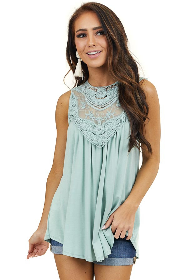 Pistachio Flowy Sleeveless Top with Sheer Crochet Detail