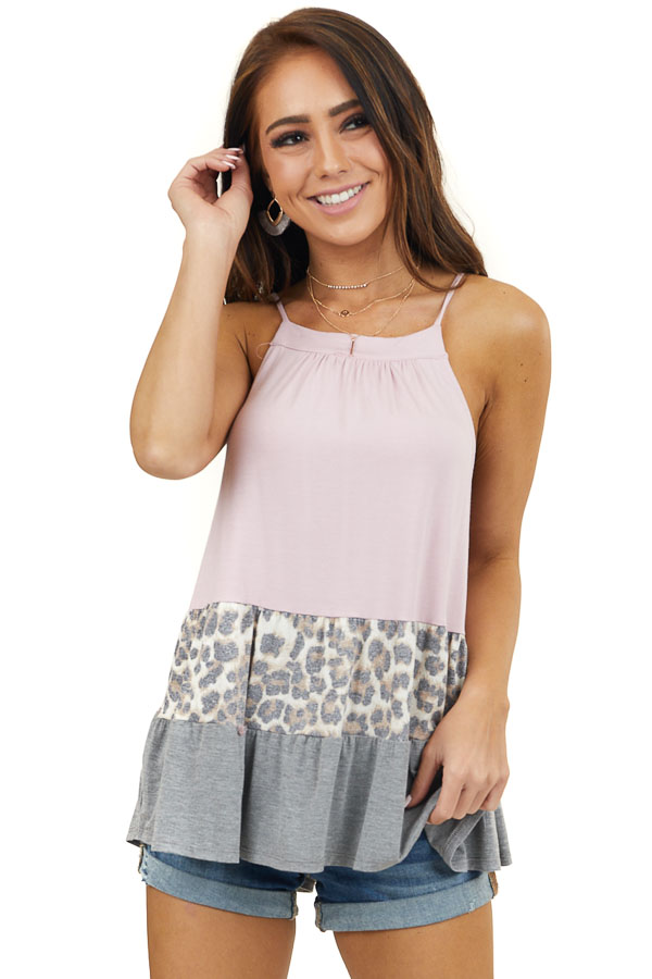 Blush and Leopard Print Colorblock Knit Sleeveless Top