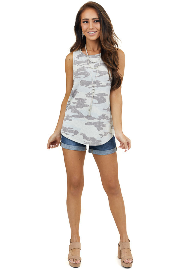 Baby Blue and Pale Green Camo Print Sleeveless Knit Top