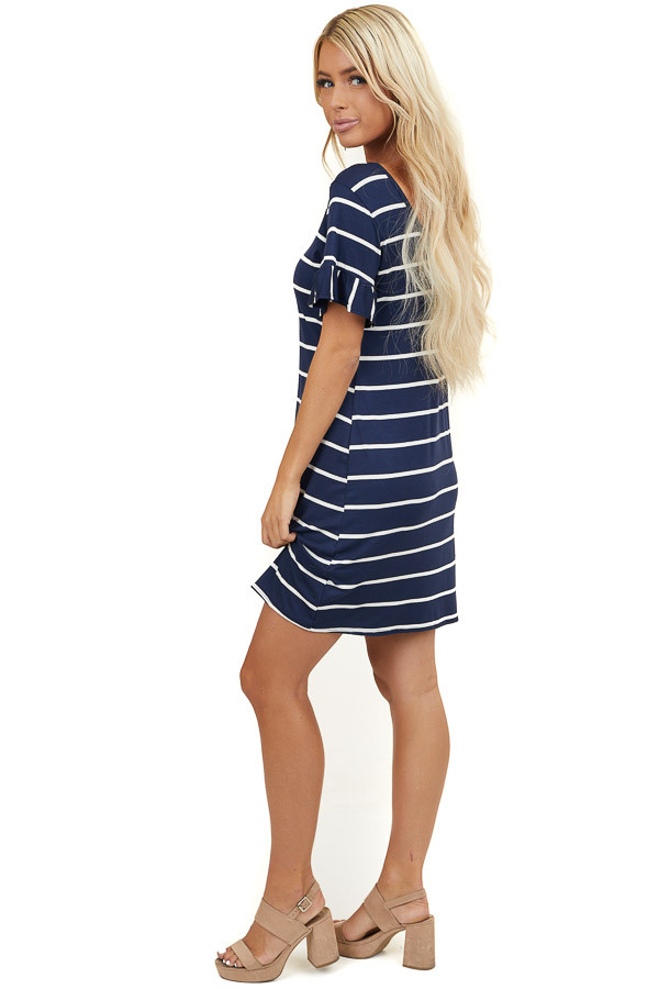 Navy and Off White Striped Loose Tee Shirt Short Dress