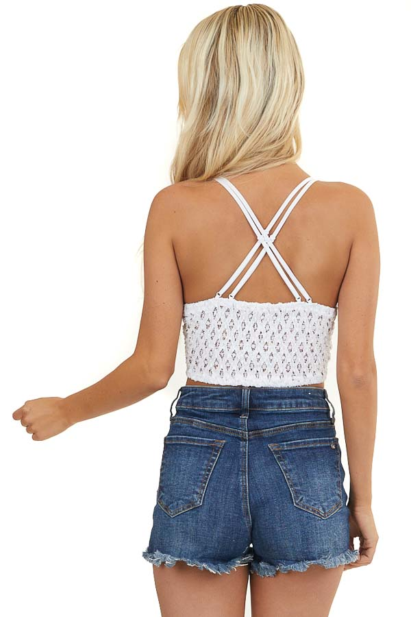 Off White Floral Lace Bralette with Smocked Back Detail