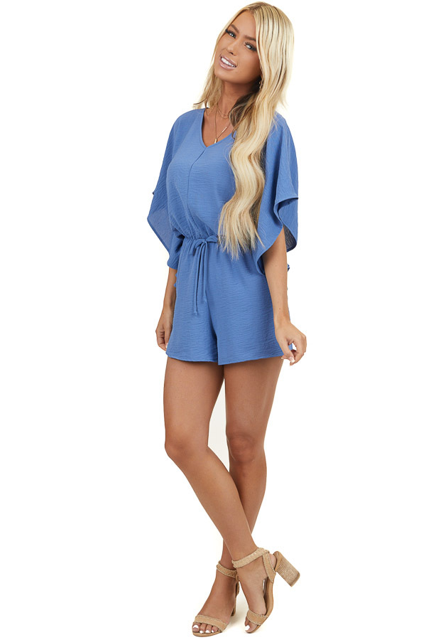 Powder Blue Short Sleeve Romper with V Neck and Waist Tie