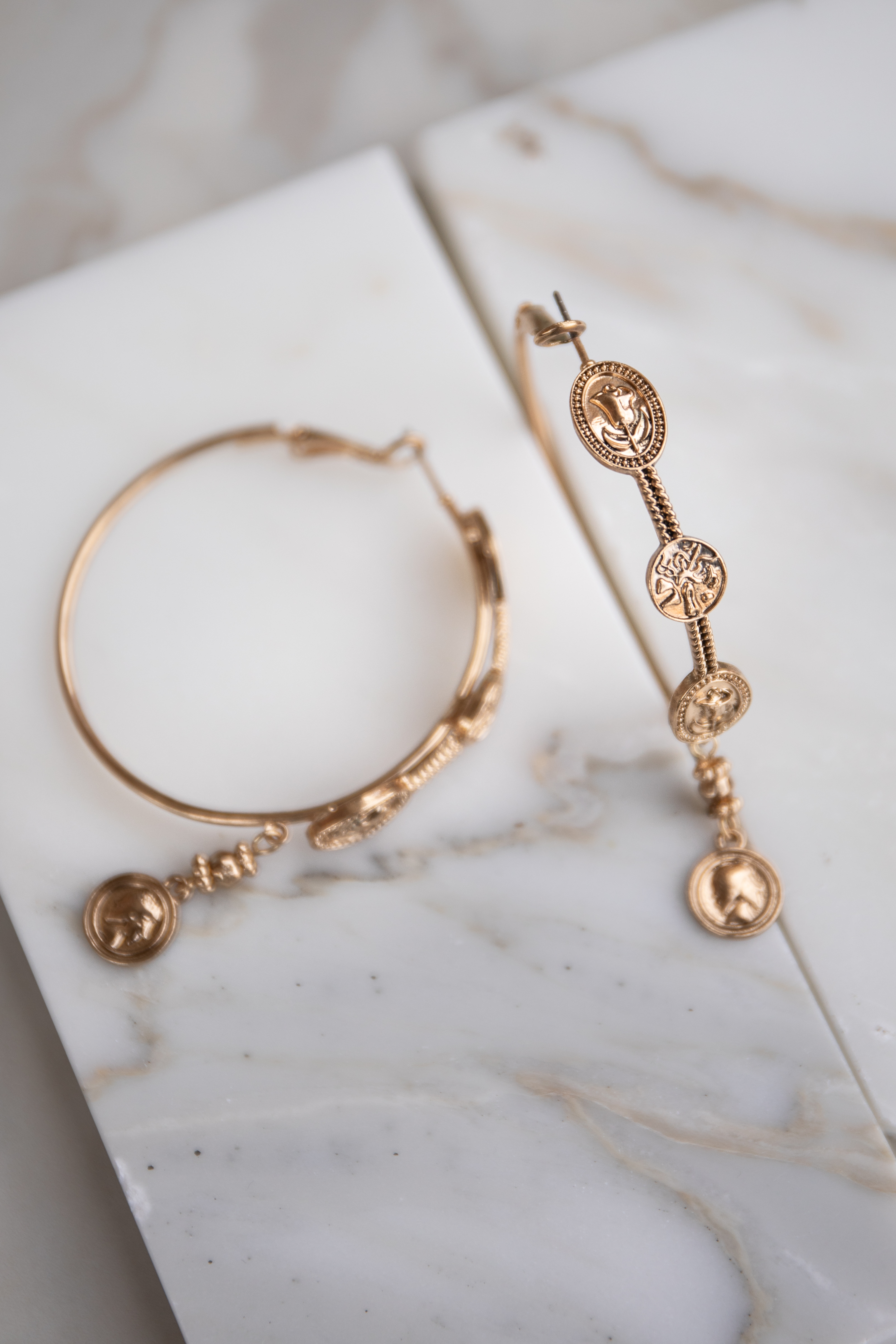Gold Hoop Earrings with Coin Pendant Details