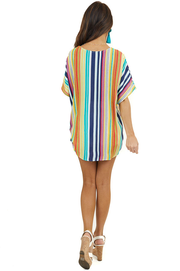 Yellow Multicolor Striped High Low Top with Front Twist