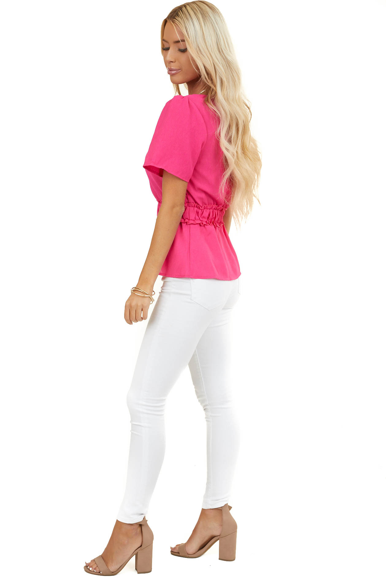 Hot Pink V Neck Button Up Peplum Blouse with Ruffle Details