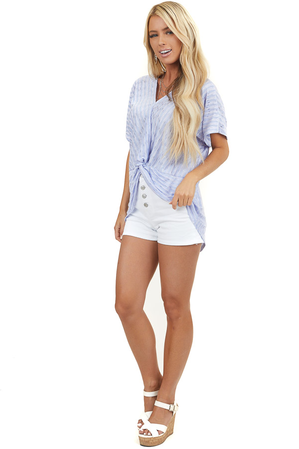 Lilac Striped High Low Front Twist Top with Shimmery Details